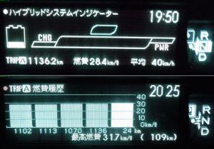 満タンで1100km走行