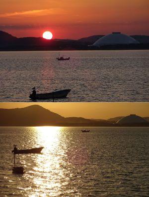山口湾の夕日